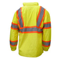 Neese 9220APK Attached Hood High Visibility Uniform Parka, 2 inch Silver Reflective Tape Trimmed in Orange, Lightweight Waterproof, Windproof, and Stretchable Material, Lime Color