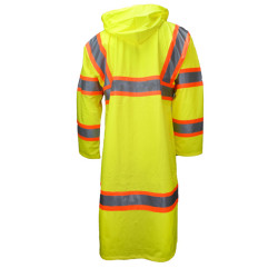Neese 9220SC High Visibility Uniform Coat, 2 inch Silver Reflective Tape Trimmed in Orange, Lightweight Waterproof, Windproof, and Stretchable Material, Snap-On Hood with Draw Cord, Lime Color