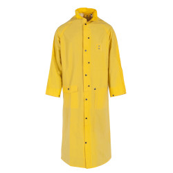Neese 1790C Economy Uniform 60 Inch Long Rain Coat, PVC/Polyester, Detachable Hood, Badge Tab, Waterproof, available in Yellow or Black