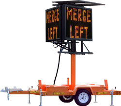 Double-Sided Highway Variable Message Board Sign and Trailer by SolarTech, MB-122