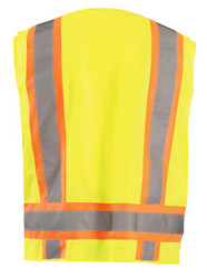 Occunomix ECO-ATRANS High Visibility Value Two-Tone Surveyor Solid Vest with 2 inch Reflective Tape, 100% Polyester, available in Yellow and Orange