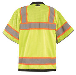 Occunomix LUX-HDS2T Heavy Duty Surveyor Uniform Vest with 2 inch silver reflective tape, 2 chest pockets, Yellow