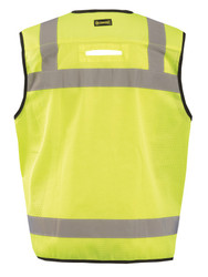 Occunomix LUX-HDSBK Heavy Duty Black Bottom Surveyor Vest with 2 inch silver reflective tape, 2 chest pockets, Yellow