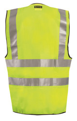 Occunomix LUX-SSFS High Visibility Premium Solid Dual Stripe Surveyor Uniform Vest with 2 inch silver reflective tape, 100% Polyester, 2 Chest Pockets, available in Yellow and Orange