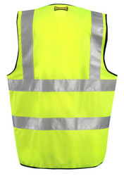 Occunomix LUX-SSFULLZ High Visibility Premium Solid Dual Stripe Full Surveyor Vests with 2 inch silver reflective tape, 2 chest pockets, 100% Polyester, Yellow