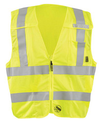 Occunomix TSE-IMBZX Self Extinguishing Break-Away X-Back Uniform Vest with 2 inch silver reflective Flame Resistant Tape, 1 chest pocket, available in Yellow and Orange