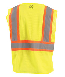 Occunomix TSE-IM2TZ Self Extinguishing Two Tone Standard Vest with 2 inch silver reflective flame resistant tape, 1 chest pocket, available in Yellow and Orange