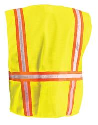 Occunomix LUX-XTRNSM Classic Mesh Two-Tone Surveyor with 3/4 inch White Gloss Tape, 2 chest pockets, available in Yellow and Orange