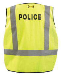 """Occunomix LUX-PSP-DOR DOR Public Safety """"Police"""" Mesh Uniform Vest with 2 inch silver reflective tape, adjustable waist, 2 mic tabs, Yellow"""