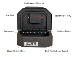 BOSS StrongBox 7409 Universal Vehicle Pistol Safe Box, Key Lock, Handgun Storage, 10x8x3, includes foam lining