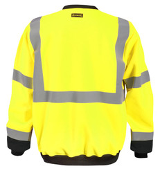 Occunomix LUX-CSWT 9 oz. Polyester Fleece Black Bottom Crew Uniform Sweatshirt with 2 inch silver reflective tape, 100% Polyester, available in Yellow and Orange