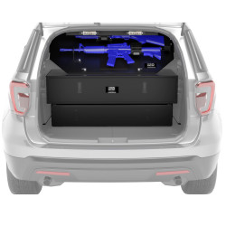 Lund Industries LOFT- 2G Dual Gun Vault Compartment, provides secured weapon storage, includes 2 Gun Locks, Muzzle Bracket, Butt Cup, Momentary Switch, fits Tahoe, FPIU, Durango, Expedition