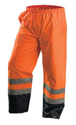 Occunomix LUX-TENR Premium Breathable Uniform Pants with 2 inch silver reflective tape, Waterproof, Relaxed Fit, available in Yellow and Orange