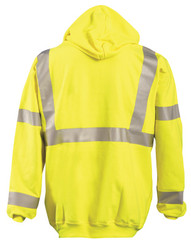 Occunomix FR-SM2213 Flame Resistant Pullover Uniform Hoodie with 2 inch silver reflective tape, Polyester/Cotton, Yellow