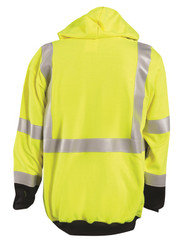 Occunomix FR-SM2313 Flame Resistant Zipper Uniform Hoodie with 2 inch silver reflective tape, Polyester/Cotton, Black Bottom, Yellow
