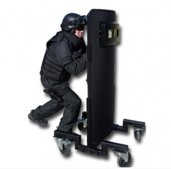 United Shield Mobile Protection Ballistic Shield, NIJ Level IV Protection, Multi-Strike Protection from Armor Piercing Rounds, Multiple sizes and  Highly mobile with Optional trolley, for Military and Law Enforcement