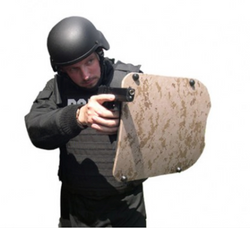 "United Shield Military Combat Ballistic Shield, NIJ Level IIIA Protection, Ambidextrous collapsible handle, with integrated weapon mount, compact at 14"" X 17"", for Military and Law Enforcement"