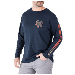 5.11 Tactical 42111WB Mission Ready Moto Long Sleeve Tee, Casual, 100% Cotton, Navy Blue