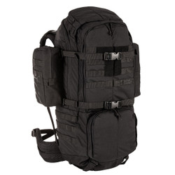 5.11 Tactical 56555 RUSH100™ Backpack 60L, 100% Nylon, Drain hole, Removable padded waist belt, Adjustable torso shoulder strap, Dual removable side pouches, available in Black and Kangaroo Brown