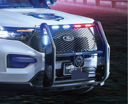 GO RHINO Ford Police Interceptor Utility 2020+ Push Bumper, LED Warning Light Ready, Optional Brush Guard Wrap, Steel, choose Texture or Gloss, includes Intersection Warning Light Mounting Brackets