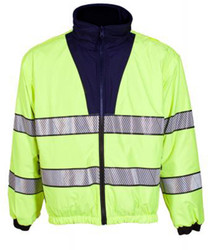 Spiewak S318ZXV Reversible ANSI Softshell Jacket/Liner, Uniform, waterproof, windproof, breathable,  available in Black / Yellow and Navy Blue / Yellow, Optional Drop-Down Panels (2 Front, 1 Back)