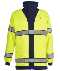 Spiewak S317V WeatherTech® Reversible Long Duty Rain Jacket, Uniform, Waterproof, windproof, and breathable, with Badge Tab, available in Navy Blue / Yellow or Black / Yellow, Optional Drop-Down Panels (2 Front, 1 Back)