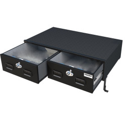 TruckVault Chevy Tahoe 2015-2020 Elevated Series Drawer Storage Unit, 2 Drawers, Choose 6-10 inches Height, Includes Combo Locks and Dividers (2 Short & 2 Long), Carpeted Interior and Top, Still Access Spare Tire, Optional Foam and Rubber Mat