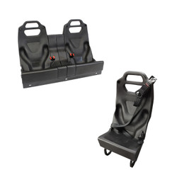 GO RHINO Ford F-150 (2018-2020) Modular Rear Prisoner Seat with Safety Center Seatbelt System, Half Seat or Double Spacer Seat, TPO Construction, Texture Scratch Resistant Finish