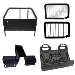 GO RHINO Chevy Silverado 2019-2020 Prisoner Transport Pkg includes: Sliding Window Front Cage Partition with Recessed Storage and Lower Extension Panels, Rear Prisoner Seat (Half or Double) w/ Safety Center Seatbelt System, Window Guards, Hardware