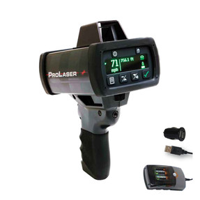 Kustom Signals Hand-Held LIDAR ProLaser 4 bundle includes 12VDC to USB adapter, batteries, hogue grip, hard carry case, and 3 year warranty