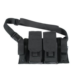 BLACKHAWK 55RB01BK RIFLE/PISTOL BANDOLEER, Holds Four Rifle Magazines and two pistol magazines, D-rings at Bottom Corners for Securing to Waist Belt, Black