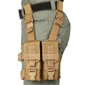 """BLACKHAWK M16 """"Y"""" THIGH RIG, Drop-leg configuration holds four M16 magazines, Constructed of lightweight yet durable 500 denier ripstop, Elastic rubberized leg straps for stability and comfort, Coyote Tan, 561604CT"""
