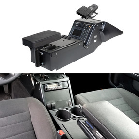 Gamber Johnson 7170-0137-04 Dodge Charger Law Enforcement Package (2011-2020) Console Box with Cup Holder, Armrest and Mongoose™ Motion Attachment Kit, includes faceplates and filler panels