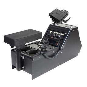 "Gamber Johnson 7170-0165-05 Ford Law Enforcement Interceptor Sedan (Taurus) 2012-2019 Console Box with Cup Holder, Armrest and 6"" Locking Slide Arm Motion Attachment Kit, includes faceplates and filler panels"