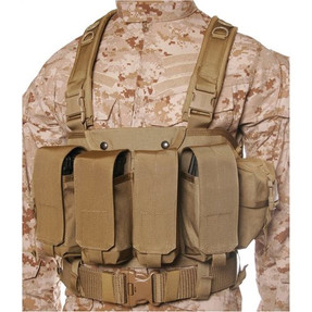 BLACKHAWK 55CO00 COMMANDO CHEST HARNESS, Adjustable Waist Strap, Four Ammo Pouches Hold Two AK-47, Three M16 or Two M14 Magazines Each, Belt Loops Secure Vest to Any Web Belt, available in Black and Coyote Tan