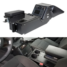 Gamber Johnson 7170-0137-02 Dodge Charger Law Enforcement Package (2011-2020) Console Box with Cup Holder and Printer Armrest Kit, includes faceplates and filler panels