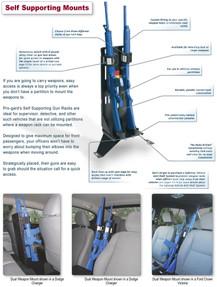 Self-Supporting Gun Rack for Law Enforcement Vehicles by Progard between Bucket Seats Vertical Mount, GVM-S Single or GVM-D Dual