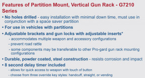 Gun Rack for Law Enforcement Vehicles by Progard Recessed Panel Partition Cage Mount G7210 Single or Dual