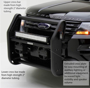 Go Rhino Push Bar Brush Guard for Ford Law Enforcement Interceptor Utility SUV (Explorer), 2013-2019