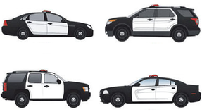 Law Enforcement Vehicle Vinyl Graphics Door Wrap Kit for All Four Doors, White or Black