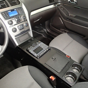 """Havis Ford Law Enforcement Interceptor Utility SUV Explorer Console 24"""" 2013-2019, includes faceplates and filler panels"""