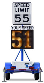 Wanco Law Enforcement Radar Speed Sign Trailer, Battery Powered and Solar Charging, WSDT3-S