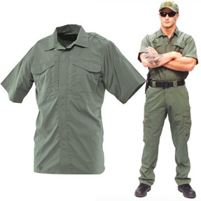 Tru-Spec 24-7 Series® TS-1045 Men's Ultralight Short Sleeve Uniform Tactical Shirt, 2 Chest Pockets, Hidden document pockets, Polyester/Cotton, Available in Black, Tan, Green, Blue