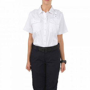 5.11 Tactical 61158 WOMEN'S TWILL PDU® CLASS-A SHORT SLEEVE UNIFORM BUTTON-DOWN SHIRT, 2 Chest Pockets, Polyester/Cotton Ripstop Twill, Epaulette Kit Included, available in Black, White, Silver Tan, and Midnight Navy Blue