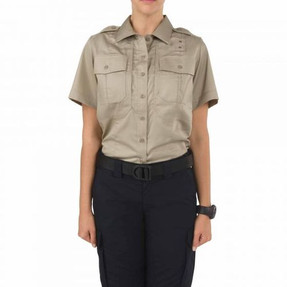 5.11 Tactical 61159WMN WOMEN'S TWILL PDU® CLASS-B SHORT SLEEVE Uniform SHIRT, breathable Polyester/Cotton twill, 2 Chest Pockets, Badge Tab, available in Silver Tan or Navy Blue