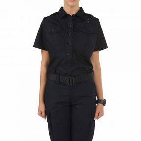 5.11 Tactical 61168 WOMEN'S TACLITE® PDU® CLASS-B SHORT SLEEVE SHIRT, Casual/Uniform, Polyester/Cotton ripstop fabric, 2 Chest Pockets, Pass-through mic cord access, Badge Kit,  Midnight Navy Blue