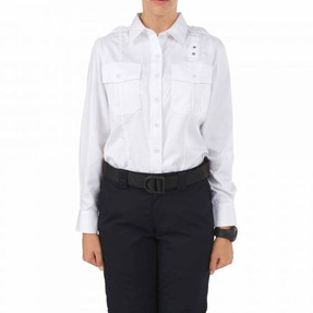 5.11 Tactical 62064 WOMEN'S TWILL PDU® CLASS-A LONG SLEEVE UNIFORM BUTTON-DOWN SHIRT, Polyester/Cotton Twill Fabric, 2 Chest Pockets, Mic Loop, Badge Tab, available in White, Black, Silver Tan, and Midnight Blue