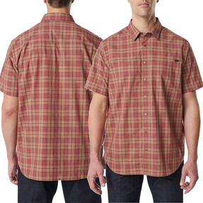 5.11 Tactical 71374 Hunter Plaid Casual Button-Down Short-Sleeve Shirt, with 1 Chest Pocket, Polyester/Cotton, available in Green, Tan,  Red, or Blue