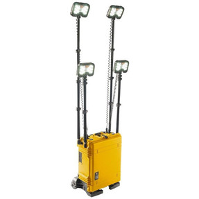 Pelican 9470M Remote Area Scene Light System with Wheels and Four Telescoping LED Light Heads, Bluetooth Remote Activation, Available in Black or Yellow