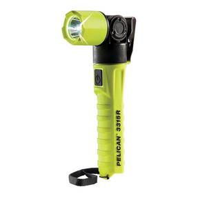 Pelican Right Angle LED Light, With Lanyard, 3 modes: High / Strobe / Low, 132 Lumens, High Visibility Yellow 3315R-RA, Quantities of 6